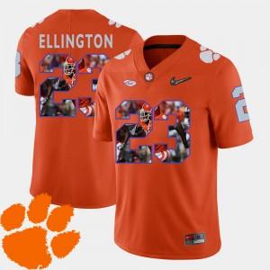 Mens Clemson #23 Andre Ellington Orange Pictorial Fashion Football Jersey 560350-325