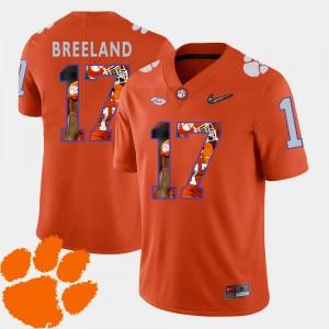 Mens Clemson National Championship #17 Bashaud Breeland Orange Pictorial Fashion Football Jersey 630647-610