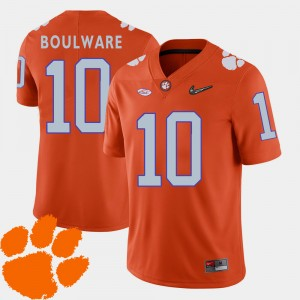 For Men's Clemson Tigers #10 Ben Boulware Orange College Football 2018 ACC Jersey 566873-603