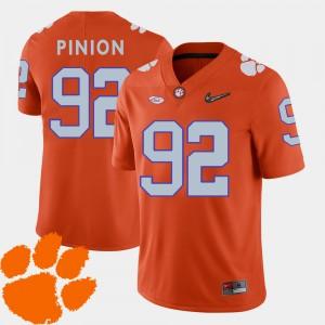 Mens CFP Champs #92 Bradley Pinion Orange College Football 2018 ACC Jersey 596546-171