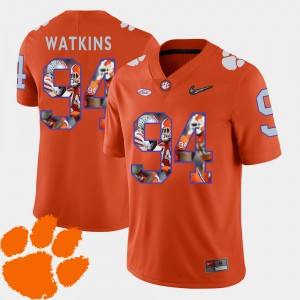 Mens Clemson #94 Carlos Watkins Orange Pictorial Fashion Football Jersey 347262-755