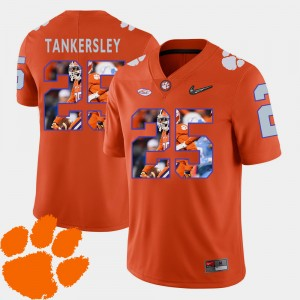 Mens Clemson National Championship #25 Cordrea Tankersley Orange Pictorial Fashion Football Jersey 497565-331