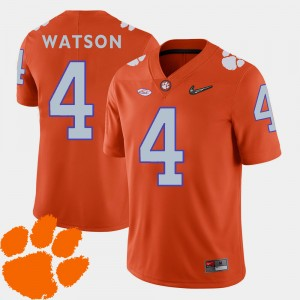 Men's Clemson Tigers #4 DeShaun Watson Orange College Football 2018 ACC Jersey 359820-819