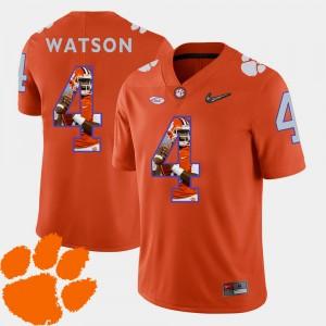 For Men Clemson National Championship #4 DeShaun Watson Orange Pictorial Fashion Football Jersey 873657-142