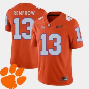 Mens Clemson #13 Hunter Renfrow Orange College Football 2018 ACC Jersey 672775-271