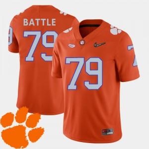 Mens Clemson #79 Isaiah Battle Orange College Football 2018 ACC Jersey 157466-999