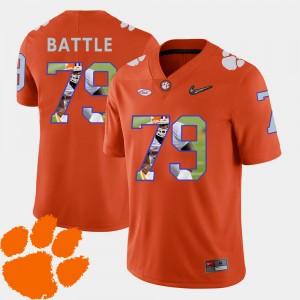 Men Clemson Tigers #79 Isaiah Battle Orange Pictorial Fashion Football Jersey 327964-457