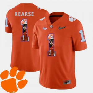Mens Clemson University #1 Jayron Kearse Orange Pictorial Fashion Football Jersey 396055-943