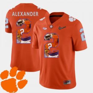 Mens Clemson Tigers #2 Mackensie Alexander Orange Pictorial Fashion Football Jersey 721672-735