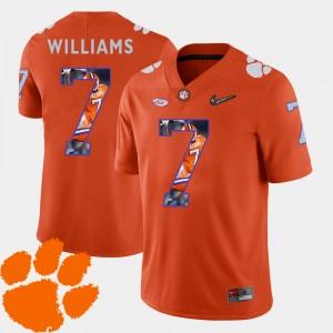 Men's Clemson University #7 Mike Williams Orange Pictorial Fashion Football Jersey 788713-583