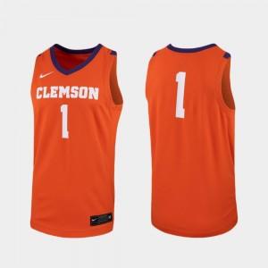 Men Clemson National Championship #1 Orange Replica College Basketball Jersey 669788-357