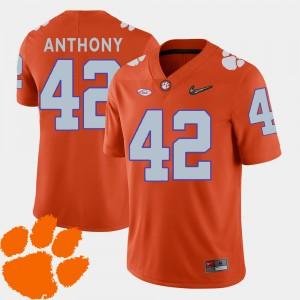 Mens Clemson University #42 Stephone Anthony Orange College Football 2018 ACC Jersey 947624-671