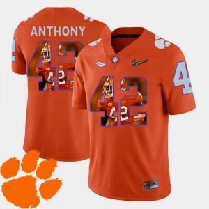 Mens Clemson #42 Stephone Anthony Orange Pictorial Fashion Football Jersey 870652-567
