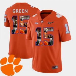 Men's Clemson National Championship #15 T.J. Green Orange Pictorial Fashion Football Jersey 574516-695