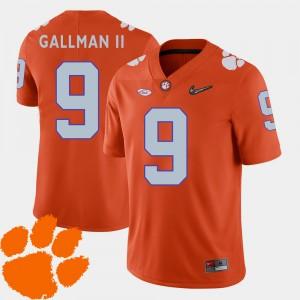 Men Clemson University #9 Wayne Gallman II Orange College Football 2018 ACC Jersey 362504-967